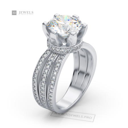 Pave triple shank contour diamond engagement ring image-1