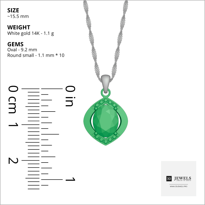Oval Cut With Diamond Halo Pendant Free 3D Model-Dimensions