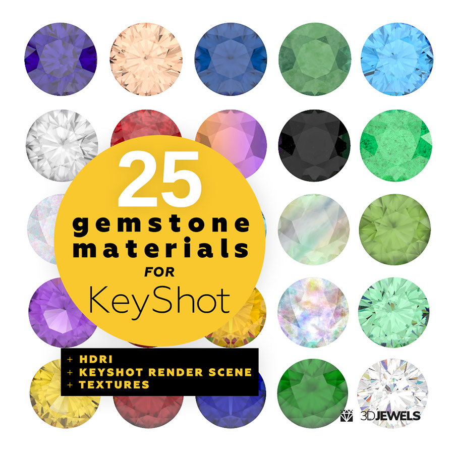 25 Gemstone Materials With Keyshot 3d Jewelry Render Scene
